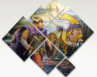 """Vikings: A MN Tradition, Limited Edition Print, 9""""x 11"""", Signed & Numbered"""