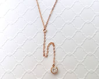 Rose Gold Filled Y Lariat Necklace with a CZ Bezel, Wedding Jewelry, Bridesmaid Necklace, Bohemian Long Y Lariat Necklace