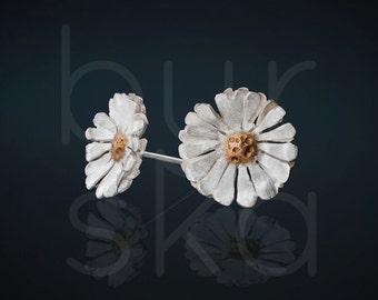 Flower Earrings,Daisy Earrings,Floral Jewellry,Sterling Silver, 24ct,Goldplated,Handmade,Bridal Jewelry, Wedding Earrings,Studs,Gift for Her