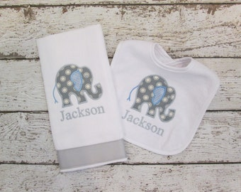 BEST SELLER - Monogrammed Bib and Burp Cloth  Set with Blue and Grey Elephant for Baby - Embroidered Personalized