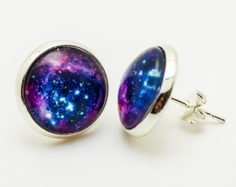 Universe cabochon earring studs