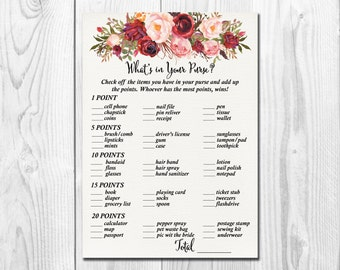 boho burgundy marsala whats in your purse game printable bohemian bridal shower purse game