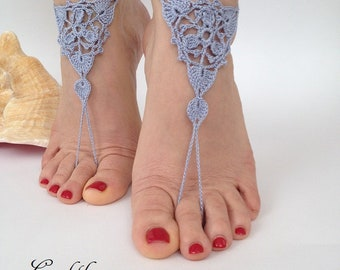 Crochet Barefoot Sandals,Barefoot sandals,Beach Wedding shoes,Bridal Foot jewelry,Boho lace sandals,Bridesmaid gift,Soleless sandals