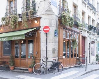 Paris Photography - Au Bougnat Restaurant-Horizontal, Neutral Urban Home Decor, Large Wall Art, Paris Restaurant, Home Decor