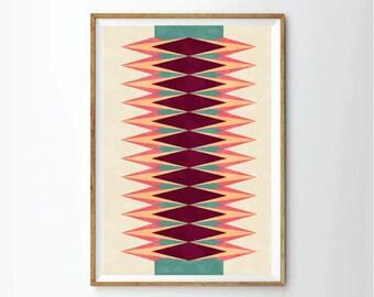 geometric art, mid century style, Art print, art print, wall decor, nursery decor