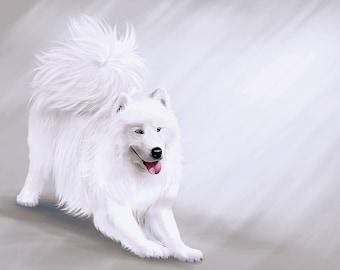Samoyed breed playing dog print on canvas