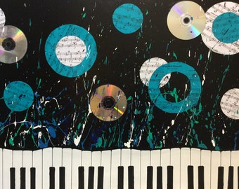 Piano abstract Art (original painting) keys rock n roll CDs music sheet music paper circles  turquoise blue splash splatter radio dance