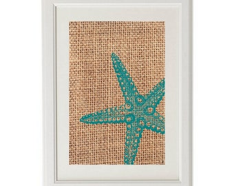 Natural Print with STARFISH 8x10 Digital Art / Teal Starfish Art / Custom Modern Print / Interior Decor / Beach Decor / Shabby Chic