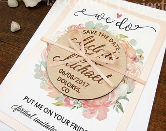 Save the Date Magnet, We Do Save the Date, Wood Save the Date, Wedding Invitation, Wedding Favor, Rustic Save the Date, Floral Save the Date