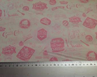 Fabric Fat Quarter-Retro Bake Words-Pink-Makower-100% Cotton-Kitchen-Cooking