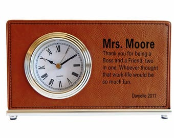 Boss and Friend Gift - Gifts for Boss Male - Boss Birthday Gift Personalized - Coworker Gift - Boss Thank You Gift - Desk Clock, LB008