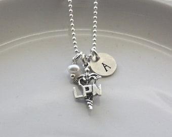 LPN Necklace - Nurse Jewelry - Custom Nurse Necklace - Nurse Graduation Gift - Nurse Thank You Gift