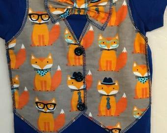 Fox vest and tie onesie 12 month