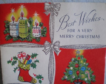 Vintage Mid Century Unused Christmas Greeting Card - Best Wishes For A Very Merry Christmas