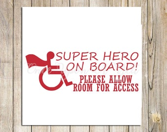 Superhero on Board Handicap Decal, Handicap Sticker, Wheelchair Decal, Wheelchair Car Decal, Car Decals, Handicap Car Decal, Handicap Symbol