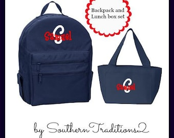 Backpack and Lunchbox set - Monogram Backpack - Monogram Lunch Box Set - Uniform matching Book Bag