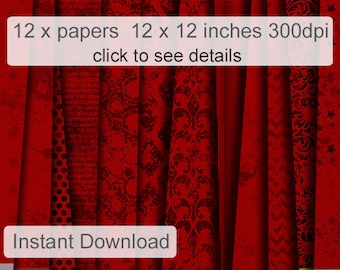 Red digital paper - Red Downloadable paper - Red Gothic Digital Paper Pack (RDP1)
