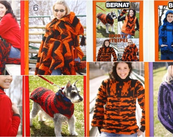 SPORTY STRIPES Pattern Booklet Bernat 530158 Knit Crochet Sweater Dog Coat Mitts Hats Mittens Scarf Stadium Blanket Cushion Pillow Cardigan
