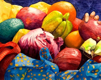"""Wall art. Market Basket 4 - Hand.  Fruit and vegetable still life - vivid, lively colors. CERAMIC TILE   - 8"""" x 10"""".  Free U.S. shipping."""