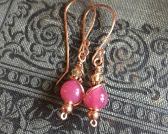 Candy Jade Copper Earrings