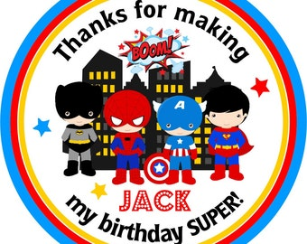 Superhero Stickers, Superhero Birthday Party, Personalized Stickers or Hang Tags, Spiderman, Superman,Batman, Captain America - Set of 12