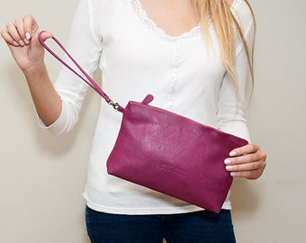 Sale!!! Purple Leather Clutch, Handmade Leather Pouch, Leather Cosmetic Bag