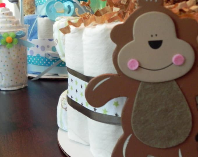 Monkey Diaper Cake - One Tier  Baby Shower gift or centerpiece jungle green netural animal