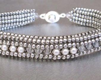 beadwork bracelet sterling silver