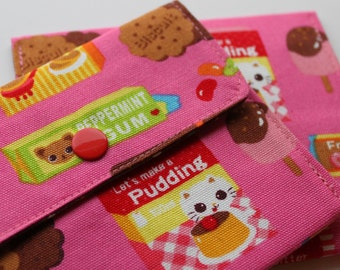 Snappy Card Holder - Candy Kitten and Chihuahua - Pink - New Fabric