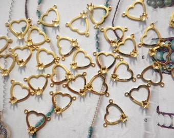 24 Goldplated Heart Pendants with 3mm Setting