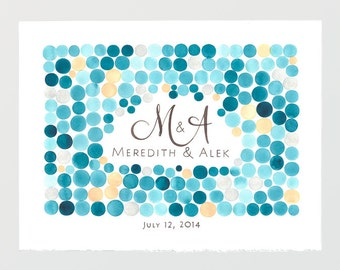Wedding Guest Book Alternative mosaic pattern Print - Large Poster Modern Guestbook - ORB CLUSTER watercolor design