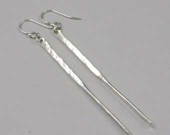 Long Silver Earrings, Handmade Hammered Silver Dangle Earrings, 3 inch long nickel free silver earrings, Long Skinny Silver Drops