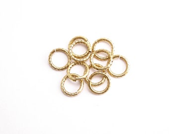 Antique Gold Textured Jump Rings, (10 pcs) 9mm Nunn Design Jump Rings, Antique Gold Jump Rings, Textured Jump Rings, 9mm Jump Rings JPR0013