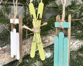 Sled Christmas Ornaments, Skis Christmas Ornaments, Sled Ornaments, Ski Ornaments