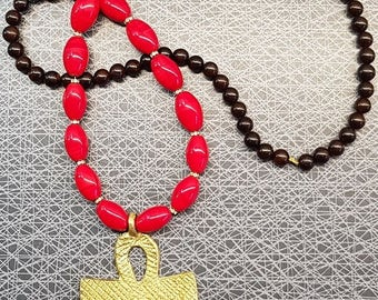 African brass ankh cross red tradebeads wood rhinestone long necklace