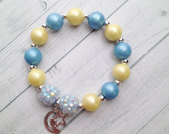 8 - Twinkle Twinkle Little Star Party Favor Bracelet Love you to the Moon Twinkle Twinkle First Birthday Baby Shower Favor Blue & Yellow