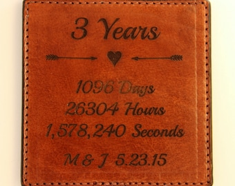 3rd Year Anniversary Gift for Him - Personalized Leather Coaster For Third Year Leather Anniversary