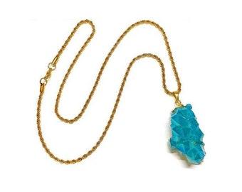 Le Mer Aqua Aura Quartz Necklace