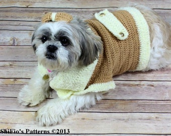 CROCHET PATTERN For Dog Jacket Clothes Coat  with Bow in 4 Sizes PDF 179 Digital Download