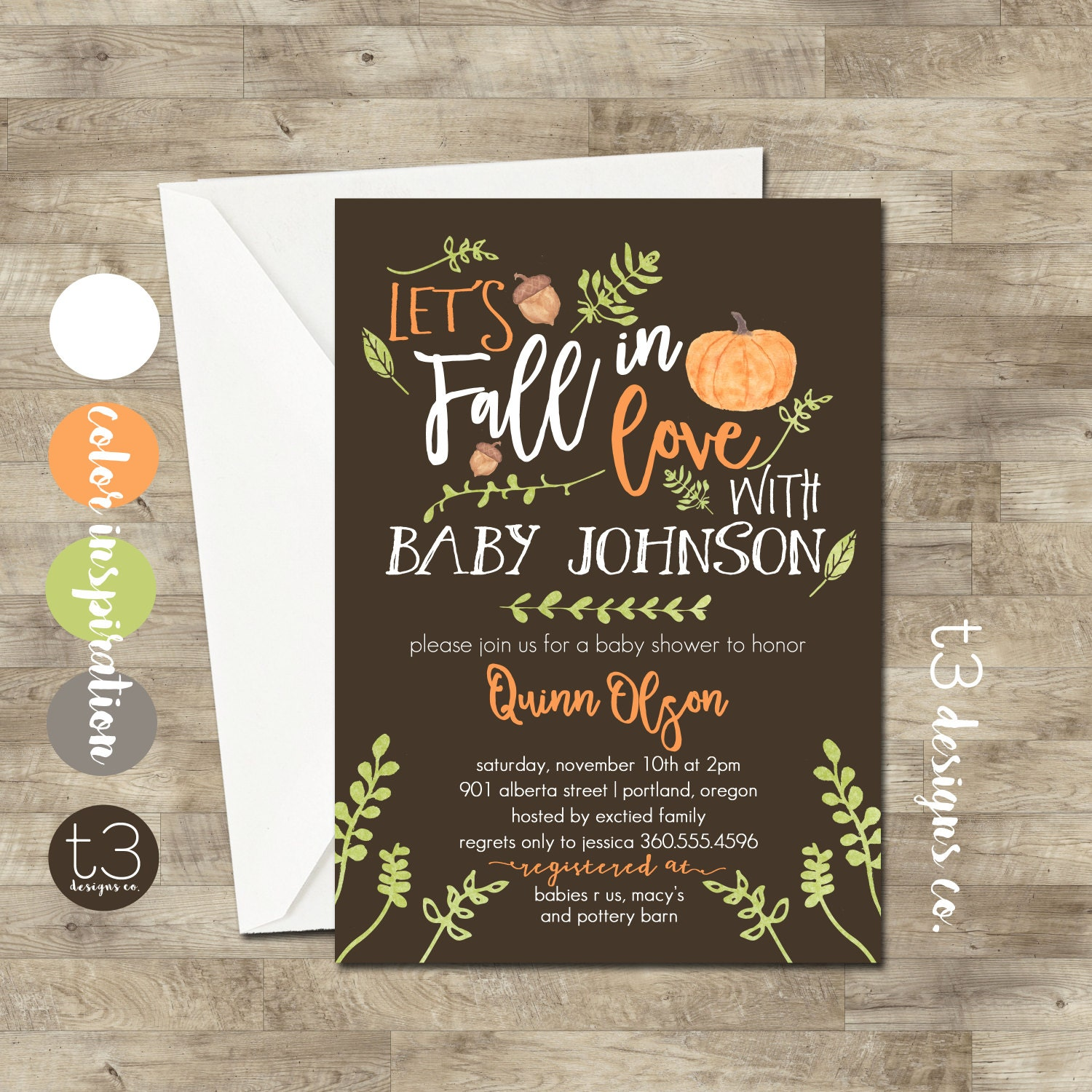 Fall Baby Shower Invitation girl or boy baby shower invite