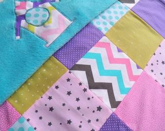 Pink Purple turquoise birdhouse theme baby blanket