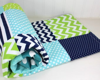 Baby Blanket, Nursery Decor, Baby Bedding, Baby Shower Gift, Patchwork Quilt, Navy, Blue, Lime Green, Aqua Blue, Teal Blue, White, Baby Boy
