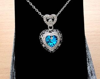 Heart Necklace Blue Heart Pendant Necklace Swarovski Crystal Necklace Crystal Pendant Crystal Jewelry Silver Pendant Heart Jewelry