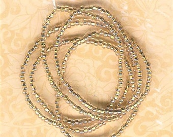 DOLLAR DEAL, 11/0 Seed Bead Brass Lined Clear ab, 1 Strand, 385 Pieces, #11 Clear Brass Lined AB Seed Beads, Brass Seed Bead, #11 Seed Bead