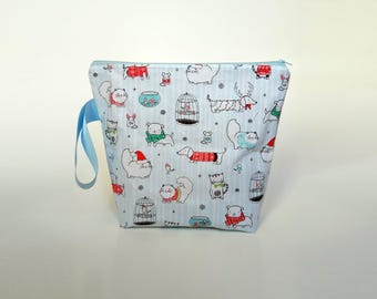 Medium Knitting Project Bag, Chistmas Project Bag, Cute Pets Project Bag, Festive Zipper Pouch with handle