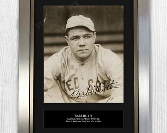 Babe Ruth Baseball MLB Framed Signed Autograph Reproduction Photo A4 Print