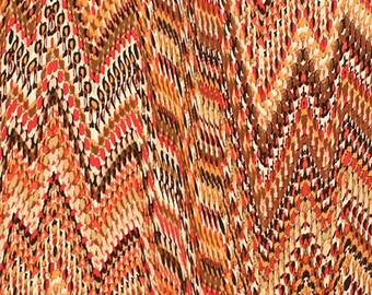 Orange Red Faux Snakeskin Ethnic Single Spandex Knit Fabric **UK Seller**