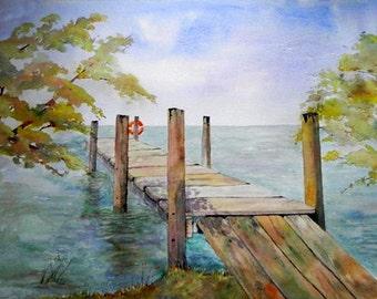 Pier to Freedom. Irish Art, Irish Watercolour. Limited Edition Print, Irish Landscape.