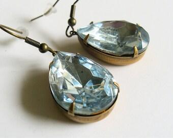 Lorraine-Vintage Sapphire Glass Bead Pendant Dangle Earrings in a Pear Shape