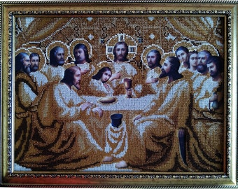 The Last Supper Icon religion beaded stitching bead embroidery beading on needlepoint kit DIY beadpoint craft set